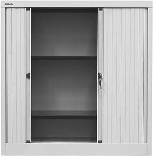 Bisley Armoire à rideaux Euro - 2 tablettes, 2,5 hauteurs de classeurs - largeur 1200 mm, gris clair | ET44/12/30/2S.1V7 -...
