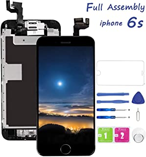 Screen Replacement for iPhone 6S Black 4.7 Inch LCD Display A1633 A1688 A1700 Pre-Assembly Touch Digitizer with Front Camera, Proximity Sensor, Earpiece and Screen Protector