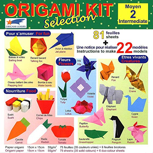 Origami Paper - Origami Kit Selection 2 (Intermediate) - Illustrated Instructions + 81 Sheets of Origami Paper - 15cm x 15cm