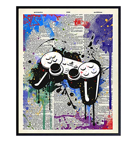 Remote Control Wall Decor - Gaming Graffiti Art - Street Art Poster Print for Game Room, Dorm, Bar, Boys Room, Bedroom - Gift for Gamers, Xbox, PS4, Playstation, Video Game, Arcade Fans, Men, Teens