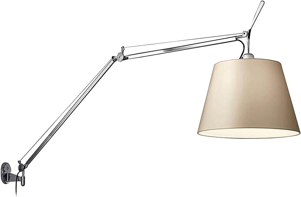 Artemide tolomeo, mega lampada da parete,in alluminio,con paralume in carta pergamena 0564010A+0563050A+0780020A