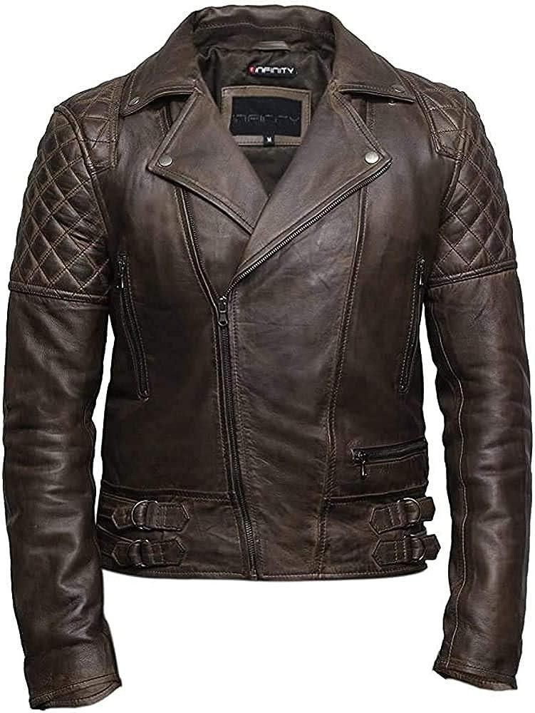 Mens Tan Slim Fit Cross Zip Vintage Brando Leather Biker Jacket