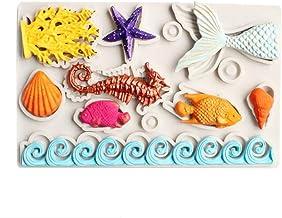 Ialwiyo Big Mermaid Theme Fondant Silicone Mold, Mermaid Tail Seahorse Seashell Starfish Seaweed Fish Chocolate Mold for S...