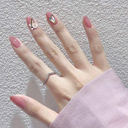 chenche Nagel Aufkleber für Mädchen 24pcs / Box voller Abdeckung Kurze Nagelpresse Nagel Mode japanischen Stil rosa glänzenden Strass Dekoration künstliche Nägel