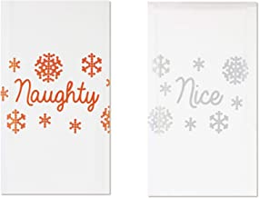 Enesco Our Name is Mud Holiday Naughty and Nice Dish Cloth Tea Towel Set, 20 Inch, Multicolor