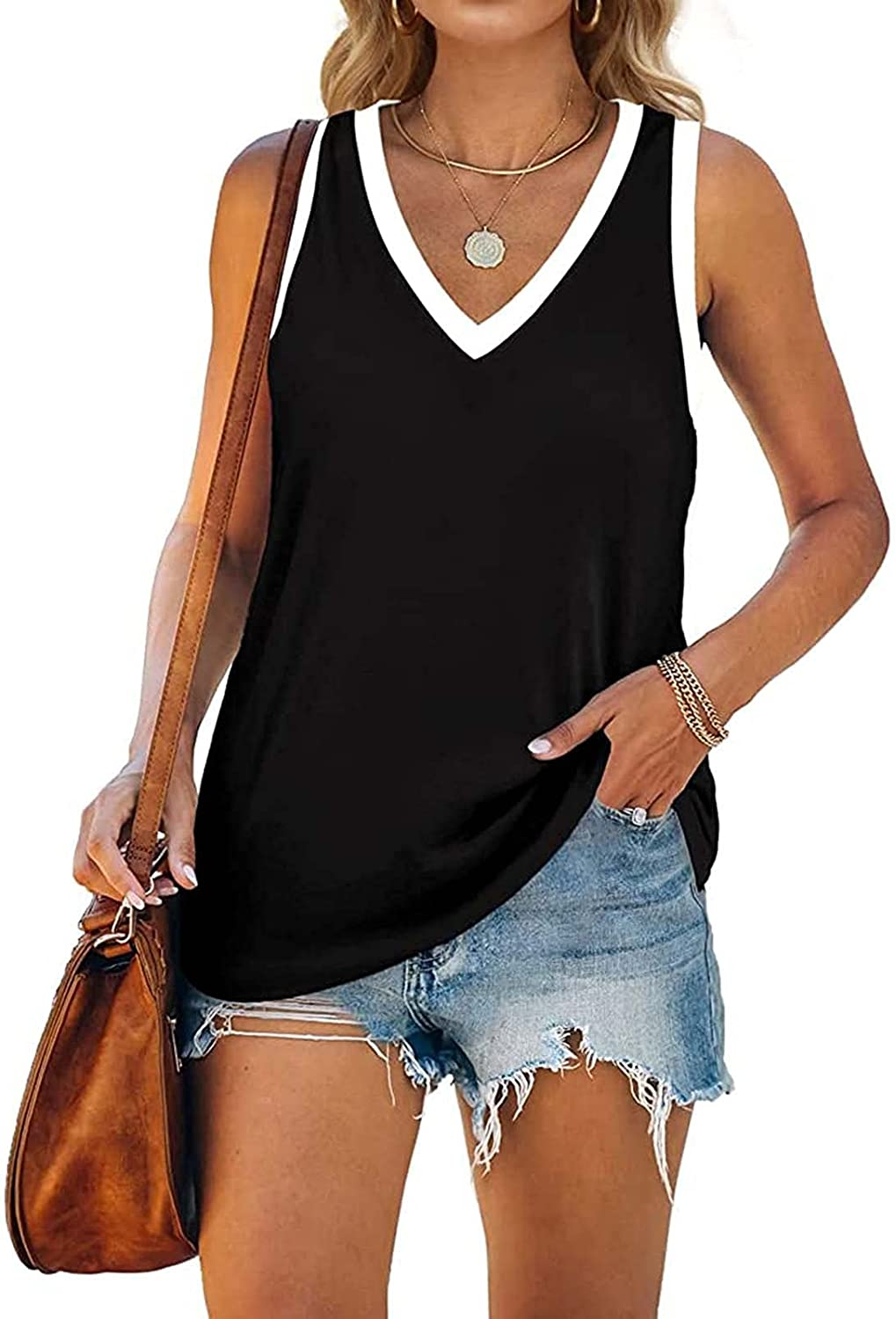 ORT Women's Tank Tops, Womens V Neck Tank Tops Sleeveless Shirts Loose Fit Vest Casual Summer Wrap Spaghetti Strap Tank Top