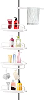 WARMQ Corner Shower Caddy, 4 Layer Adjustable Constant Tension Bathroom Shower Shelf, Stainless Steel Pole Rust Proof Telescopic Rod Storage Rack Organizer,Rustproof 3.4 to 9.8ft