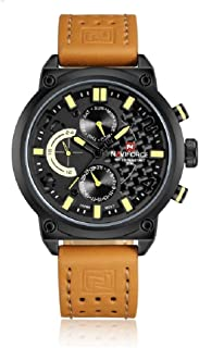 NAVIFORCE Analogue Yellow Dial Chronograph Leather Strap Military Sports 6 Hands Men's Wrist Watch