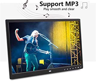 WanZhuanK Digital Picture Photo Frame 17 Inch 1080P High-Resolution Digital Photo,Support 1080P Video,Stereo,MP3,Remote Control Electronic Calendar MP4 Functions with Remote Control,Euplug