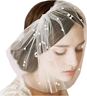 Fstrend Bridal Wedding Veil Bridal Pearl Birdcage Veil with Comb (White)