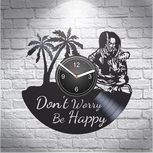 Bob Marley Don't Worry Be Happy Music Fans Gift For Boyfriend Girlfriend Wall Art, New Handmade Vinyl Wall Clock Decor, Office Decoration For Living Room Inspirational, Best Present Silent Mechanism