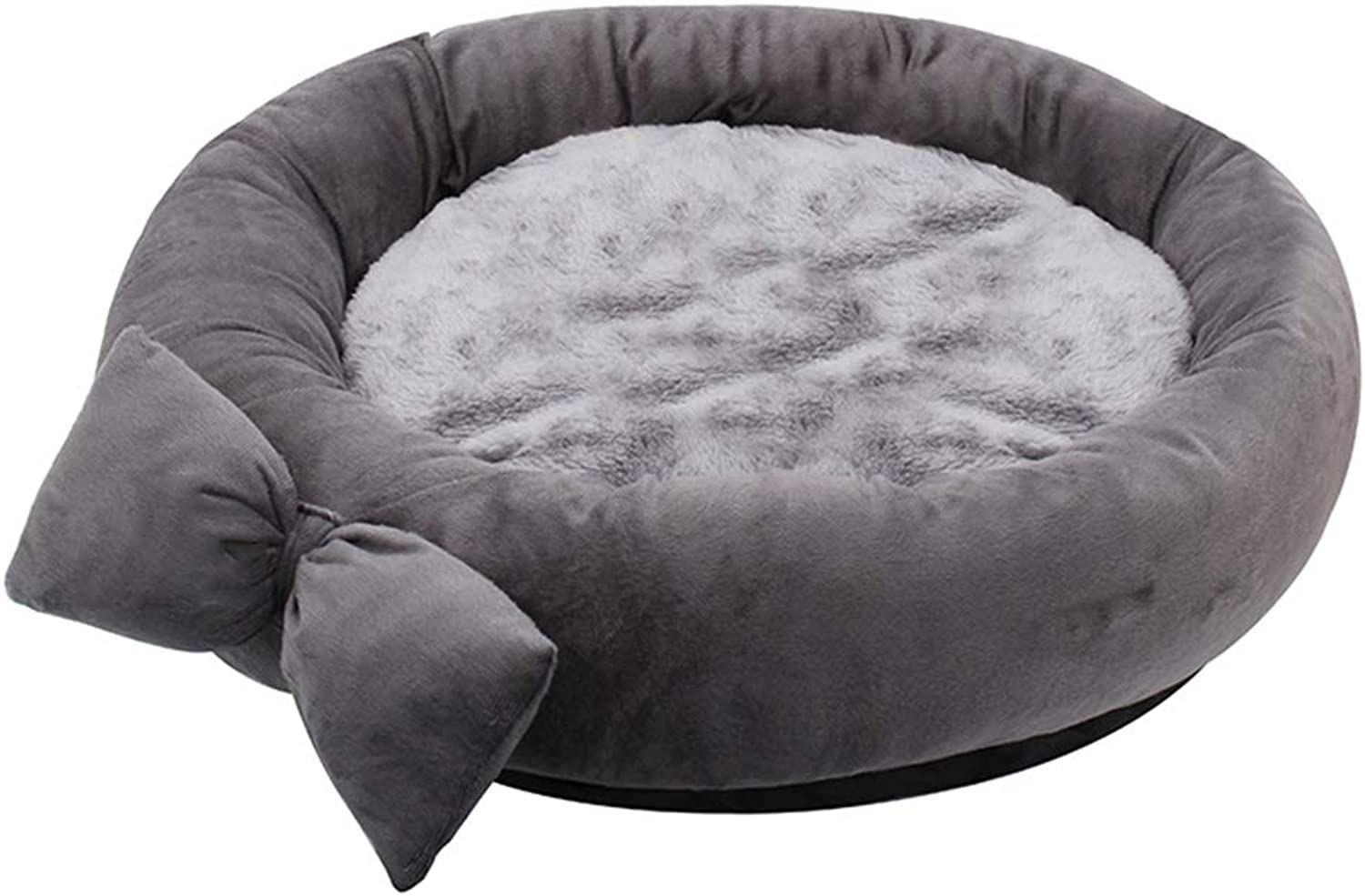 Dog Bed Round with Bow Small Dog Medium Dog Teddy Cat Litter Pet Supplies Autumn and Winter Seasons Removable and Washable (Size   Medium)
