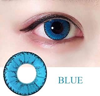 WQFXYZ Women Multi-Color Contact Lenses Cosplay Eyes Cute Charm and Attractive Fashion Eye Accessories Cosmetic Makeup Eye Shadow (Blue)