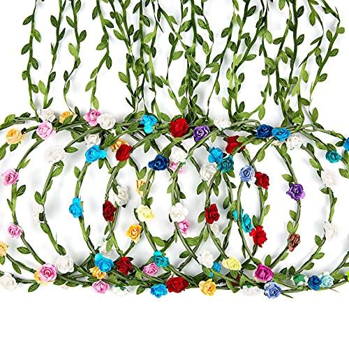 Cinta para el Cabello de Corona de Flores, Taumie 10 Pcs Ajustable Hecha a Mano Diadema Floral, Novia Corona Accesorios para el Cabello, Mujer o Niñas para Boda Fiesta de Cumpleaños Guirnalda Floral