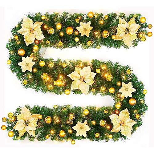 AROMUJOY Ghirlanda di Natale, 2,7m, Decorazione Natalizia in Rattan con Ghirlanda di Luci, Albero di Natale e Fiori, Decorazione Natalizia per Casa, Giardino, Matrimoni, Feste, Negozi