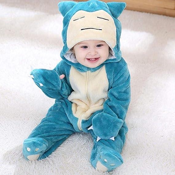 Cosplay Disfraz De Snorlax Bebé Niño Niña Pijamas De Halloween 1-3 Años Niños Chico Kawaii Lindo Mono con Cremallera Kigurumis