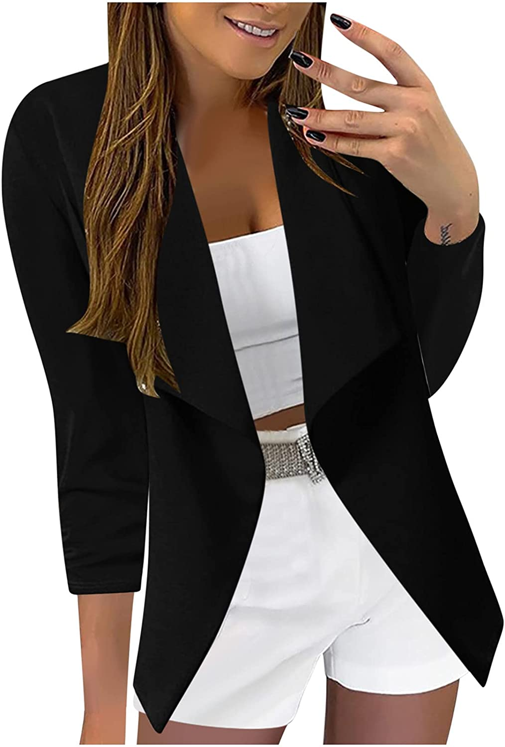 Xinantime Women's Printed Blazers Slim Fit Lapel Jacket 3/4 Sleeve Office Suit Ladies Casual Open-Front Cardigan Outerwear
