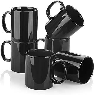Y YHY Porcelain Coffee Mugs, 12 Ounces Mug Set for Coffee, Tea, Cocoa or DIY, Set of 6, Black