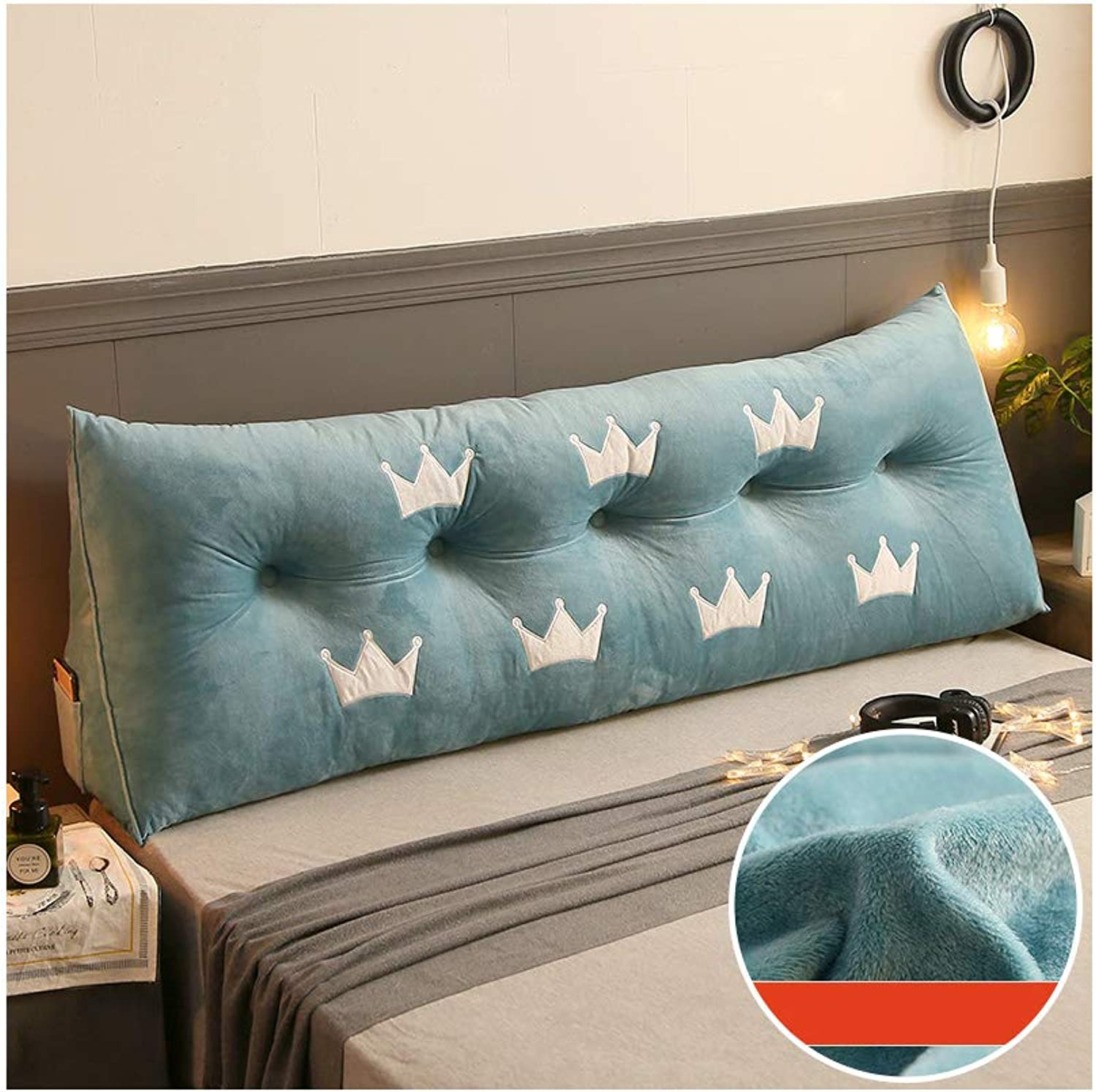 Nwn Crystal Velvet Double Bed on The Large Cushion Flannel Bed backrest Sofa Large Back Bed Pillow (color   8, Size   120  22  50cm)