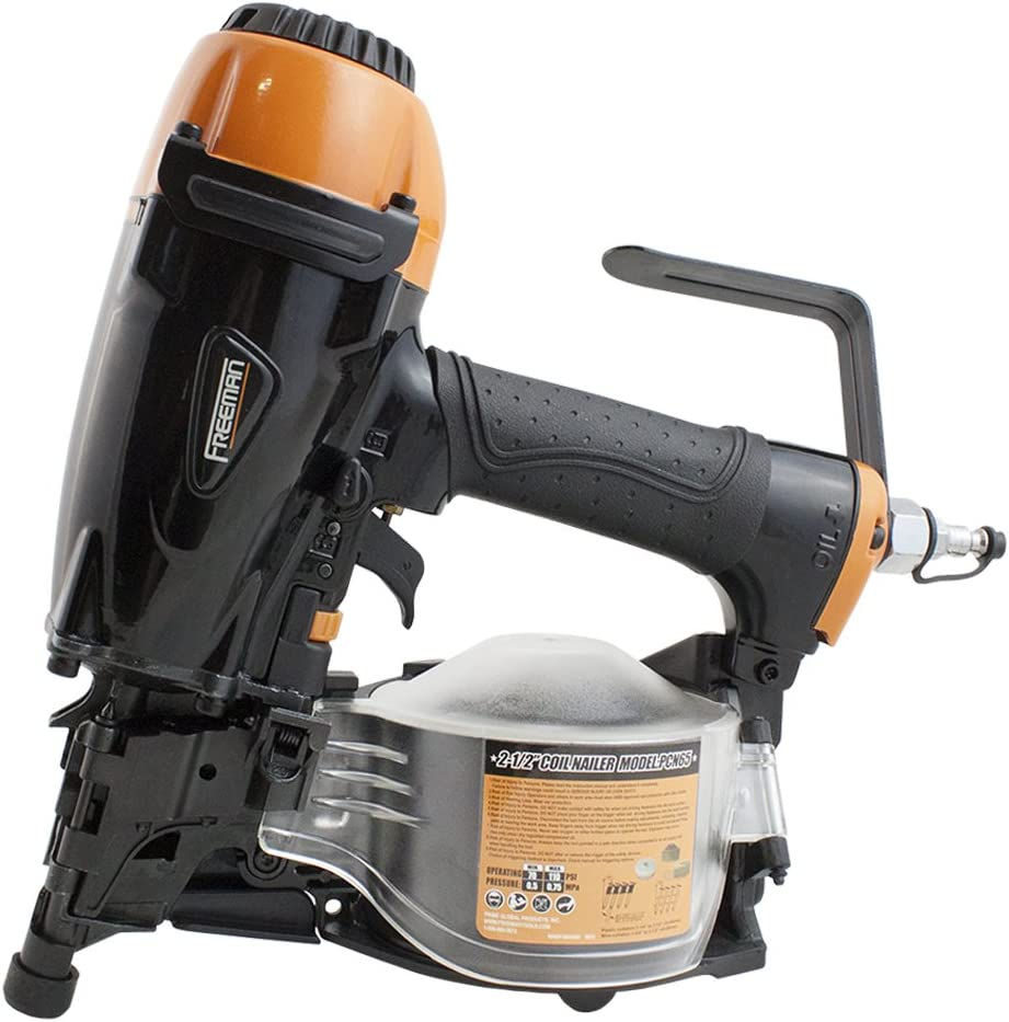 """Freeman PCN65 Pneumatic 15 Degree 2-1/2"""" Coil Siding Nailer Ergonomic and Lightweight Nail Gun with Tool-Free Depth Adjust and Side Load Magazine, Black - Power Siding Nailers -"""
