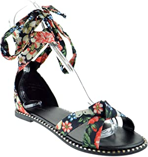 4861f83549 BAMBOO Minimal 41M Womens Knotted Printed Floral Ankle Wrap Open Toe Wrap  Sandals
