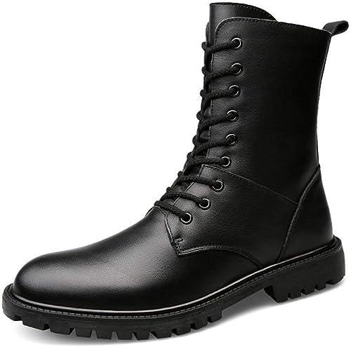 Fuxitoggo Bottines pour Hommes Talon épais Peep Toe Couleur Couleur Unie Chaussures Décontracté jusqu'à la Taille 48EU (Couleur  Noir à Une Couche, Taille  47 EU) (Couleuré   noir Wool, Taille   45 EU)