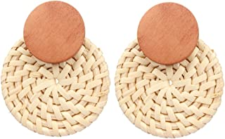Drop Earrings Hoop Earrings Fashion and All-match Round Ornament Hand Rattan Weaving Bohemian Style for Women Girls
