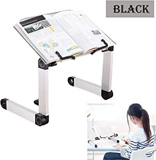 Adjustable Book Stand, Height and Angle Adjustable Ergonomic Book Holder with Page Paper Clips for Big Heavy Textbooks Music Books Tablet Cook Recipe Durable Lightweight Aluminum Book Holder Collapsib