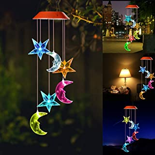 wind chimes outdoor,gifts for mom,hummingbird wind chime,solar wind chimes,mom gifts,birthday gifts for mom,grandma gifts,gardening gifts,plastic hangers,outdoor decor,Star Moon outdoor solar lights