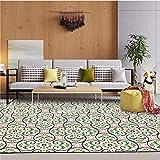 DPJS Tapis Mode Vert Rose Géométrique Style Polyester Paillasson Chambre Salon De Cuisine,120x160cm