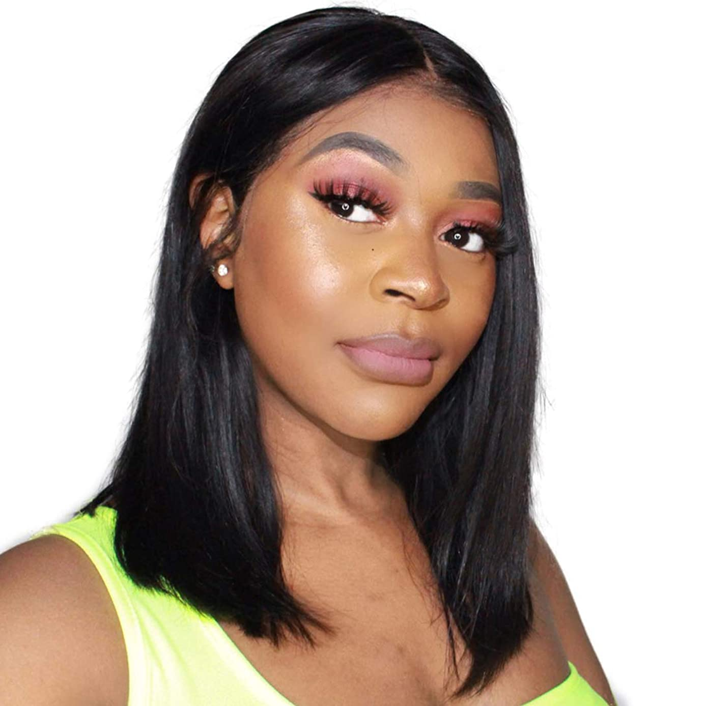 Brazilian Virgin Human Hair Lace Front Bob Wigs for Black Women Glueless Short Bob Human Hair Wig Pre Plucked with Baby Hair (8 Inches, 4x4 Lace Closure Wig)