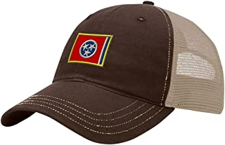 Speedy Pros Tennessee State Flag Embroidery Design Richardson Cotton Front and Mesh Back Cap Brown/Khaki