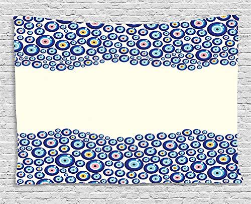 ABAKUHAUS Mal De Ojo Tapiz de Pared, Marco Símbolo, para el Dormitorio Apto Lavadora y Secadora Estampado Digital, 200 x 150 cm, Azul Rosa Amarillo