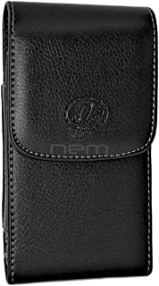 BlackBerry Leap Premium Black Vertical Leather Case Holster Pouch w/ Magnetic Closure and Swivel Belt Clip