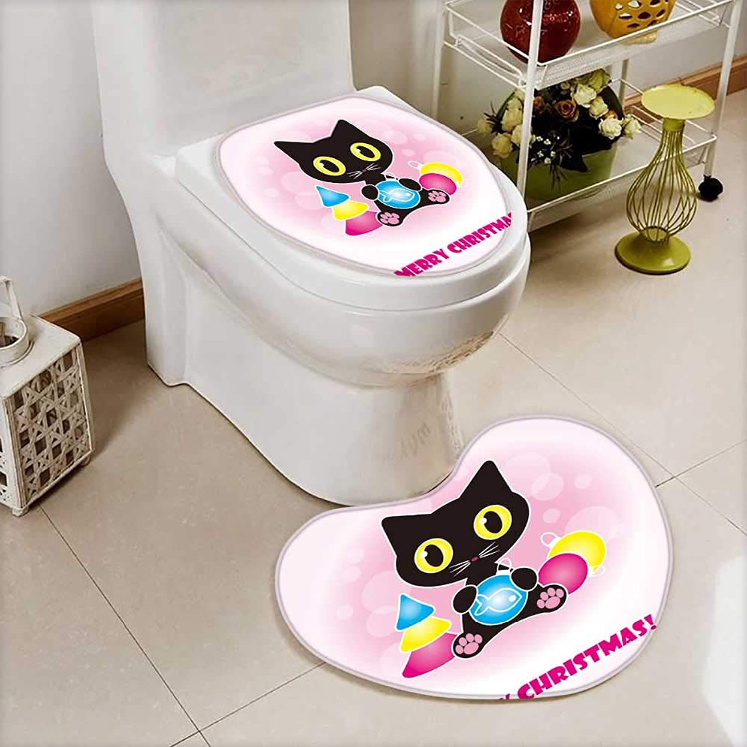 Analisahome Cushion Non-Slip Toilet Mat Christmas Card with High Absorbency
