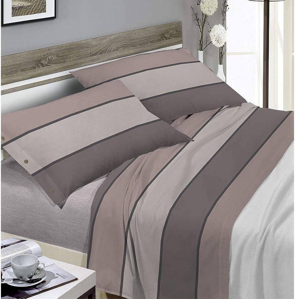 Biancheriaweb, completo lenzuola per letto matrimoniale, in 100% cotone W03054/Maxi/Tortora