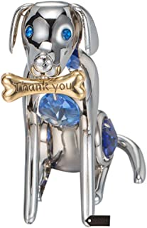 Matashi Year of The Dog Figurine Ornament with Crystal for Home Décor Gifting for Dog Lovers (Dog with Bone, Chrome/Silver)