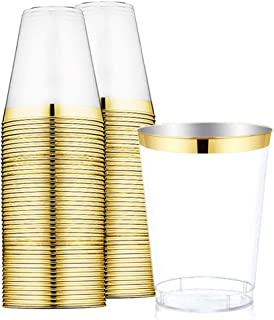 60Pack Gold Plastic Cups -9 oz Disposable Clear Plastic Cups With Gold Rim-Hard Party/Wedding Plastic Tumblers -WDF (Gold Cups)