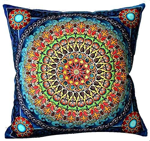 Funda de almohada de algodón con cremallera oculta, estilo étnico, estilo marroquí, estilo europeo, estilo retro, bohemio, color azul marino, 45,7 x 45,7 cm