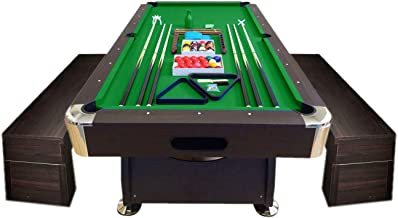 8FT Vintage Green Pool Table Billiard Indoor games with container Benches