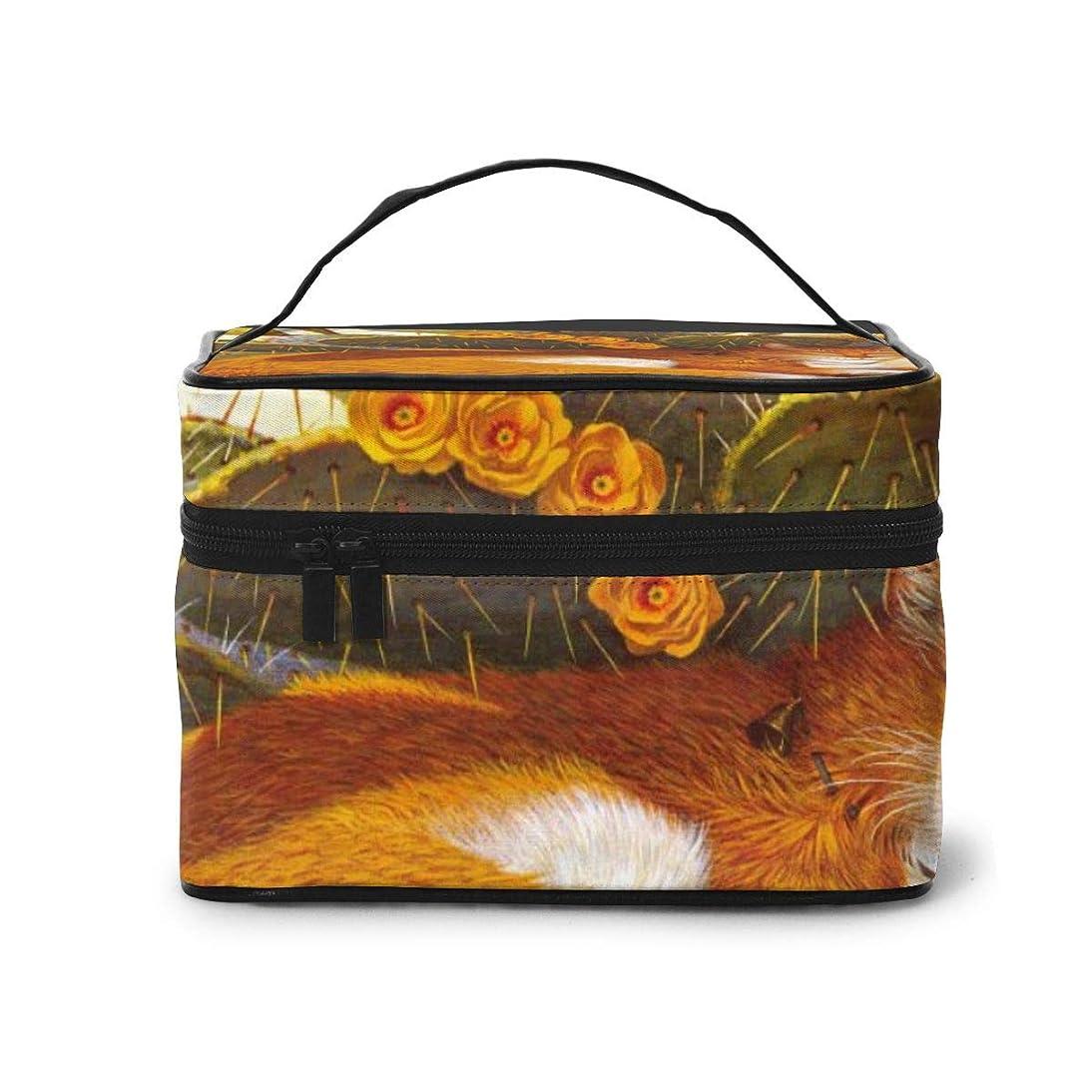 更新しっとり粘性のメイクポーチ 化粧ポーチ コスメバッグ バニティケース トラベルポーチ ボヘミアン猫 カクタス かわいい 雑貨 小物入れ 出張用 超軽量 機能的 大容量 収納ボックス