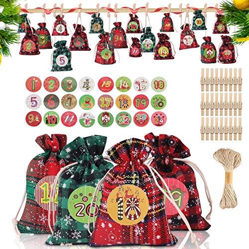 ORYCOOL 2020 Adventskalender zum Befüllen, 24 Weihnachtskalender Stoffsäckchen zum Selberfüllen [Komplettset: Aufkleber, Stoffbeutel, Kleiner Clip, Schnur], Weihnachts Geschenktaschen für Kinder