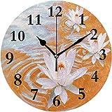 Cy-ril Reloj de Pared Redondo Lotus Flower Orange Clock para la decoración del hogar Creativo