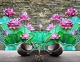 Papel tapiz fotográfico Loto de pared de ladrillo 3D Lana Fondo De Pantalla XXL Papel pintado tejido no tejido Moderna Decoración De Pared Sala Cuarto 300 X 210 cm