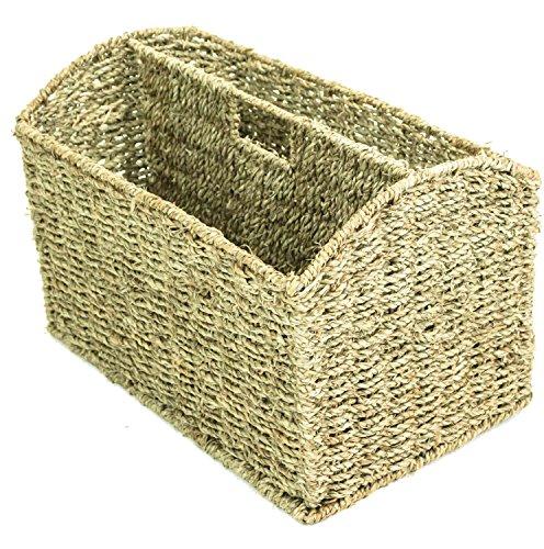 east2eden Vintage Retro Seagrass Magazine Newspaper Holder Rack Stand Storage Basket
