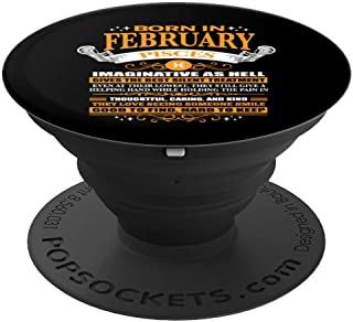 BORN IN FEBRUARY PISCES Facts Cute Zodiac Women Men Gift  PopSockets Grip and Stand for Phones and Tablets