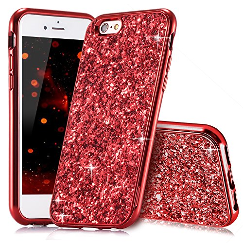 HUDDU Kompatibel mit iPhone 6 Plus Hülle Glitzer iPhone 6S Plus Handyhülle Bling Glitter Case Hart PC Bumper Hard Back Cover Abdeckung Sparkles Schutzhülle für iPhone 6s Plus 5.5 Zoll Rot