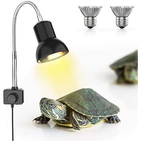 DADYPET Reptile Heat Lamps, Turtle Lamp UVA/UVB Turtle Aquarium Tank Heating Lamps with Holder, 360° Rotatable Habitat Aquarium Basking Lamp for Turtles Tortoise Snake Lizards Terrarium with 2 Bulb