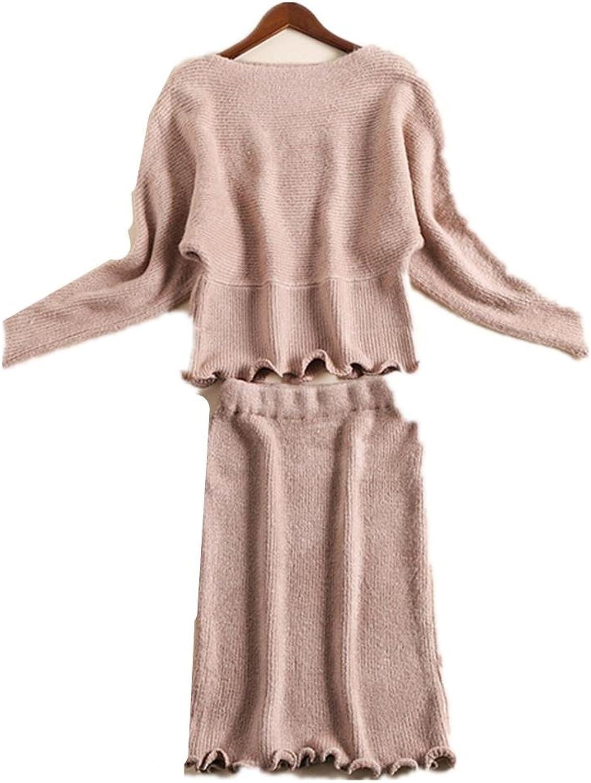 Autumn New Women's Plain Knit Sweater + Package Hip Semiskirt Fashion Slim Dress , khaki , xl