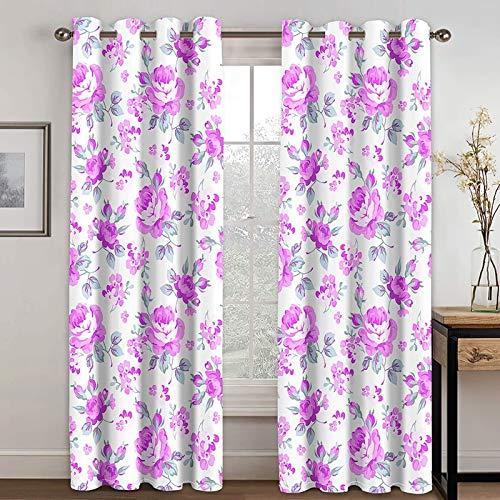 Epinki Cortinas Dormitorio y Salon Flores Rosa Cortina Poliester, Disponible en 21 Tamaños, Talla 264x214CM